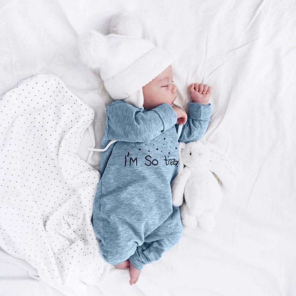 Ropa de invierno para bebés recién nacidos, mameluco adorable con letras para niños y niñas, mono de manga larga para niños