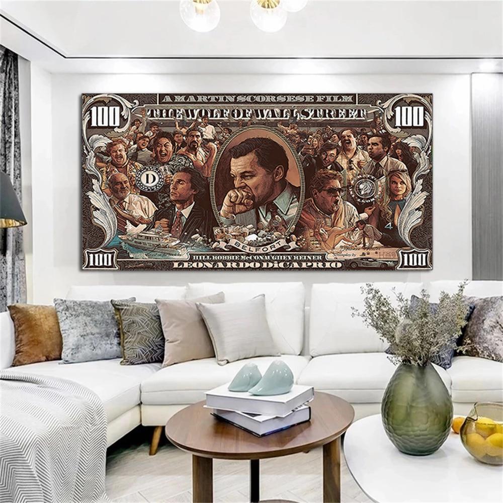 Картины на холсте «волк улица», настенные картины «доллар банкнот», Классические кинопостеры и принты, картины для домашнего декора картины