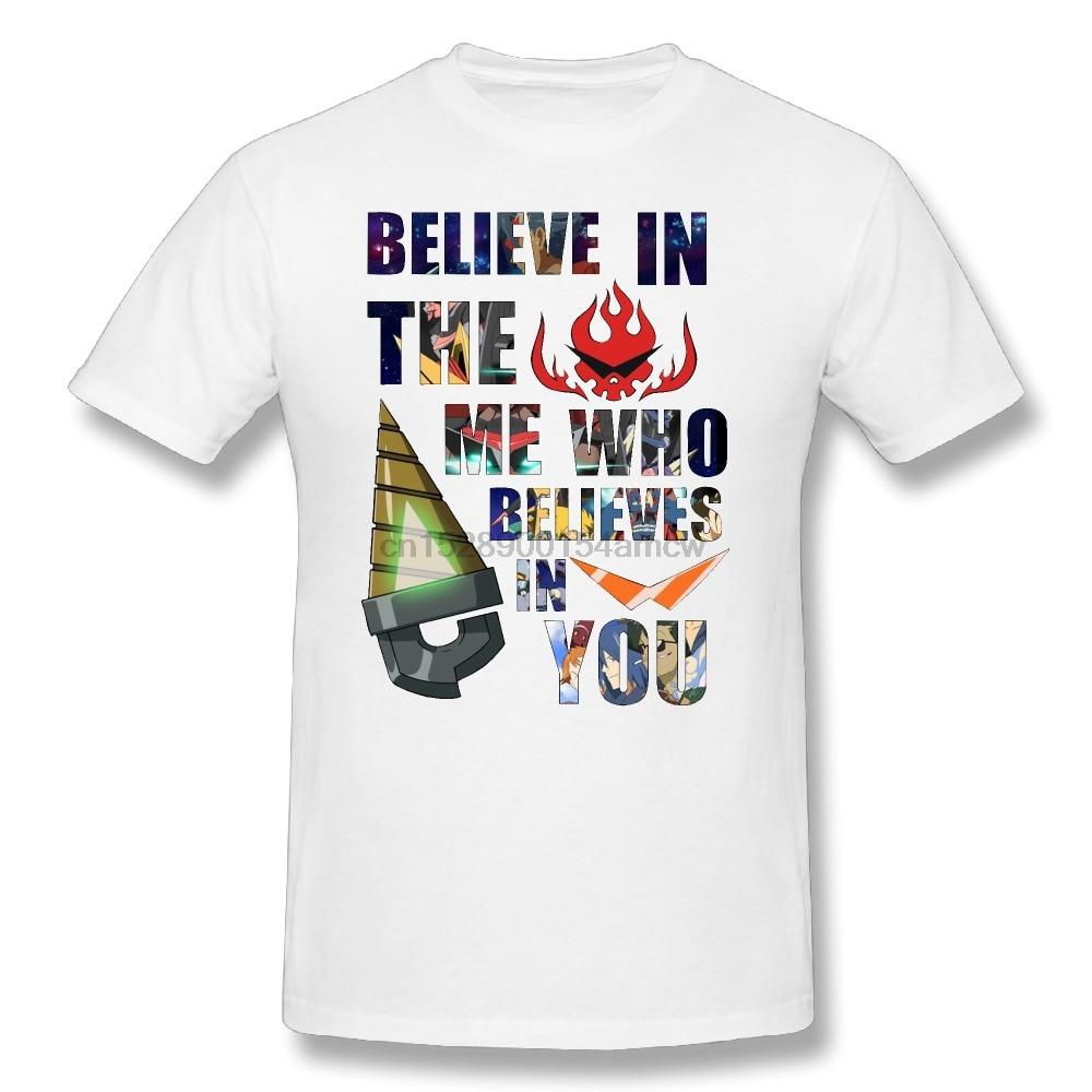 Camiseta de cuello redondo para hombre de gran tamaño camisetas de manga corta Gurren Lagann Kamina cita cree en el Me que cree en ti camiseta