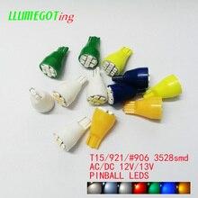 50 шт. T15 W16W 921 #906 Base 8x SMD3528 Различные цвета доступны неполярность AC DC 12 В 13 в пинбол игровой машины светодиодные лампы