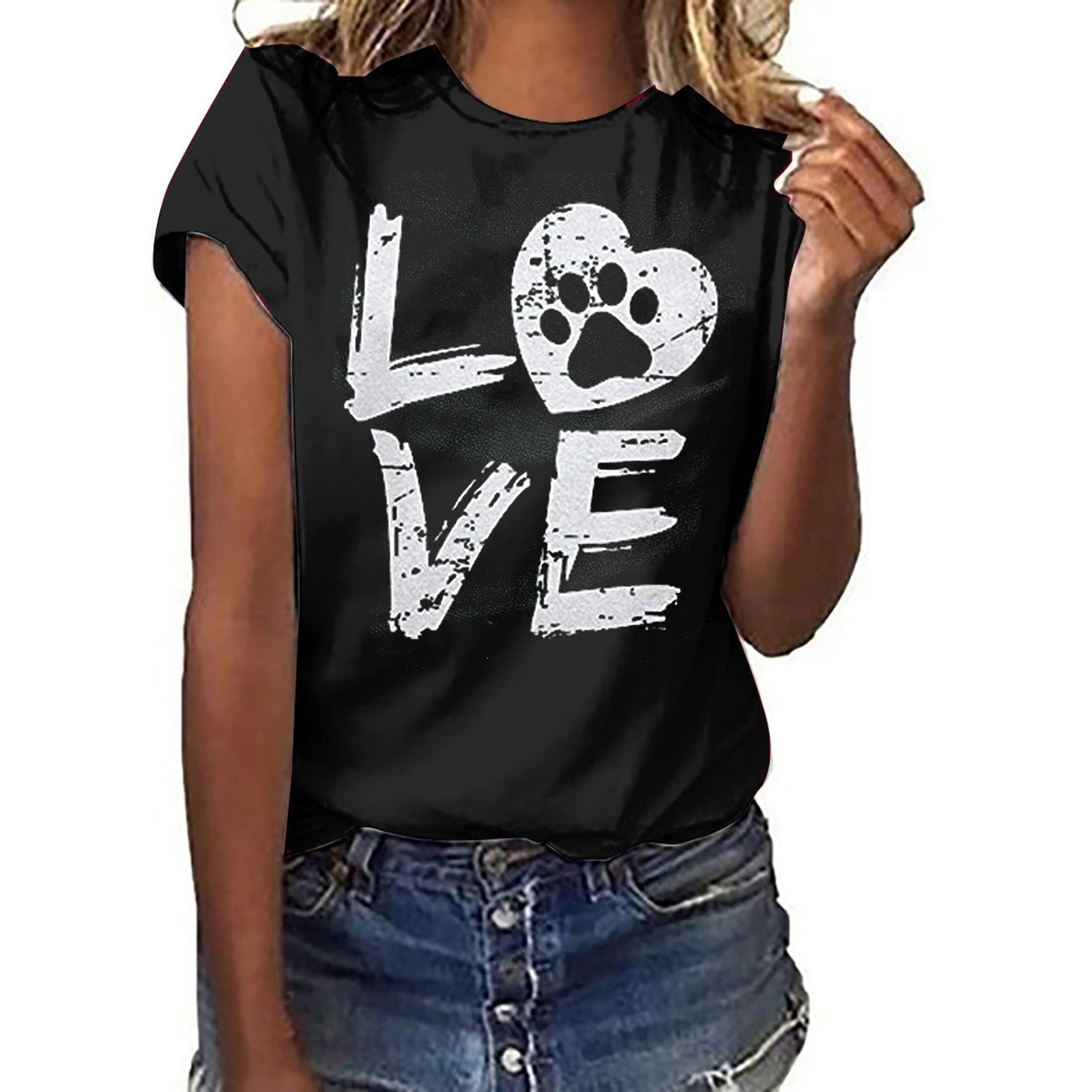 Fashion Unisex T-shirt Love letter Printed Pattern Casual Fashion Short Sleeve Tops men and women can wear camisetas de mujer