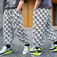 Printed Boy Spring Summer Solid Color Linen Pleated Trousers Long Pants & Capris Kids Cotton Childre