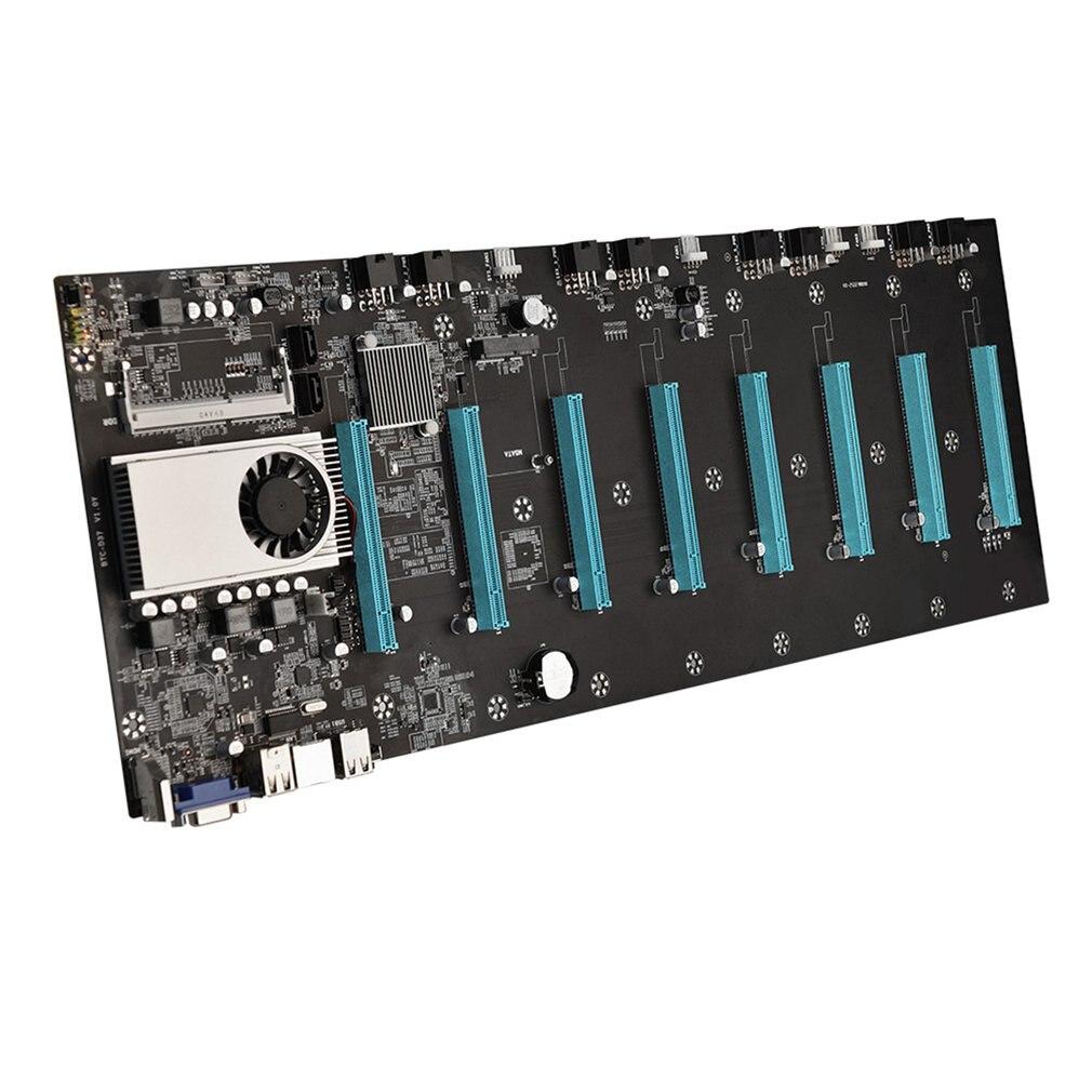 BTC-S37 مينر اللوحة وحدة المعالجة المركزية مجموعة 8 فيديو فتحة للبطاقات DDR3 الذاكرة المتكاملة واجهة VGA انخفاض استهلاك الطاقة 4 * USB 2.0 PCI