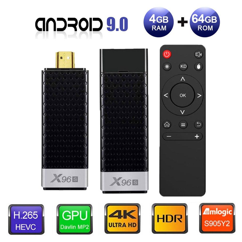 TV Stick Android 9,0 caja de TV X96S TV Stick Amlogic S905Y2 DDR4 4GB 32GB X96 Mini PC 5G WiFi H.265 Bluetooth 4,2 TV reproductor de medios