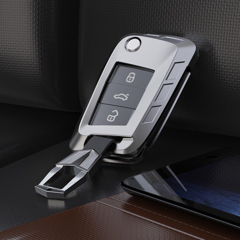 Funda de aleación de alta calidad para llave de coche para Volkswagen VW Golf 7 GTI R MK7 Tiguan funda de llave de coche llavero