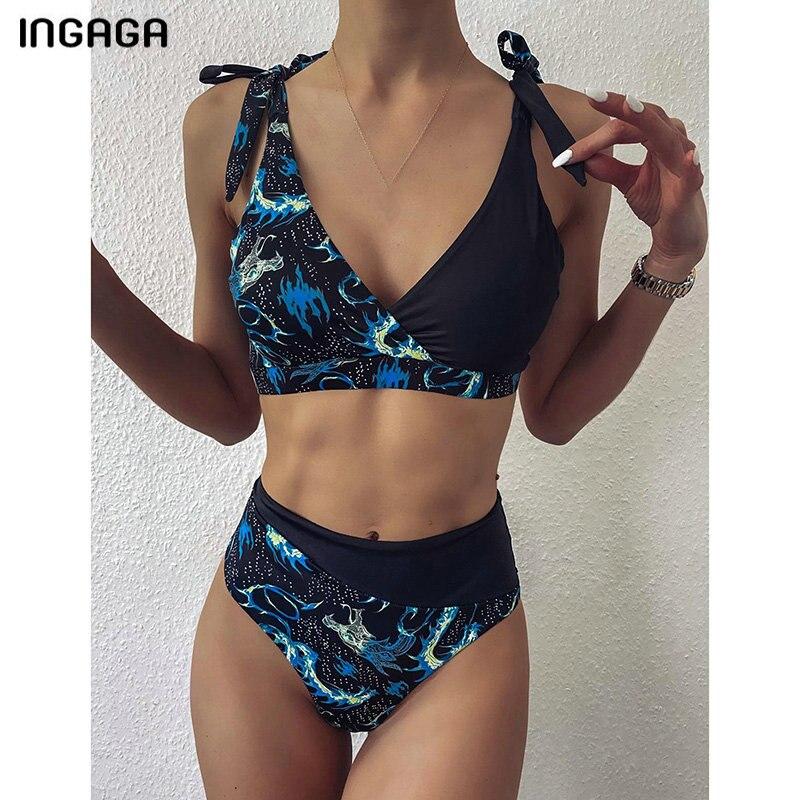 Ingaga 2020 conjunto de biquíni fatos de banho de cintura alta mulher cinta arco biquini beachwear top wrap maiôs retalhos biquinis
