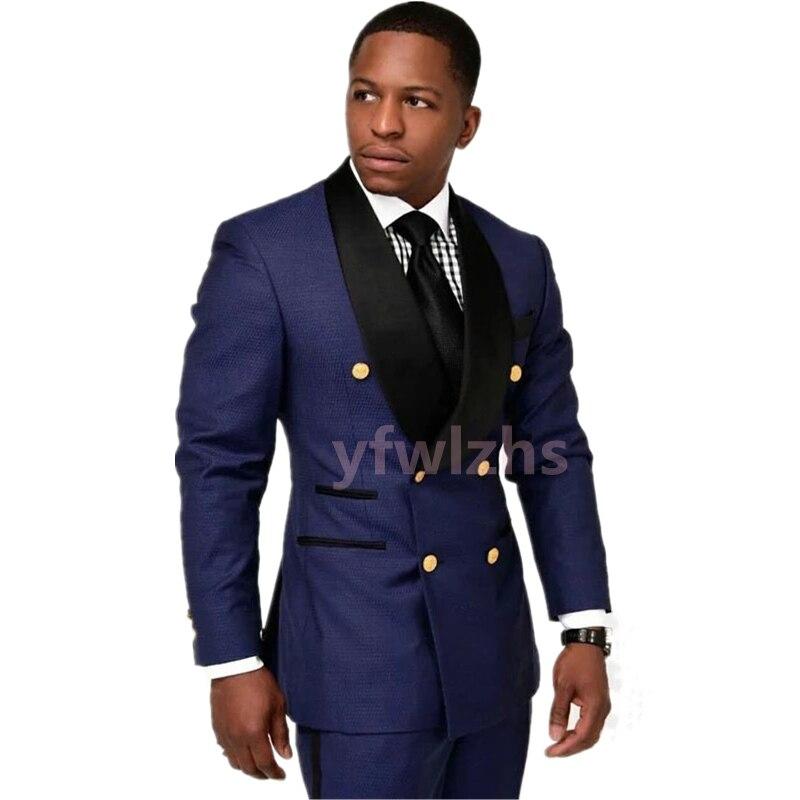New Arrival Double-Breasted Groomsmen Shawl Lapel Groom Tuxedos Men Suits Wedding/Prom Best Blazer ( Jacket+Pants+Tie) D08