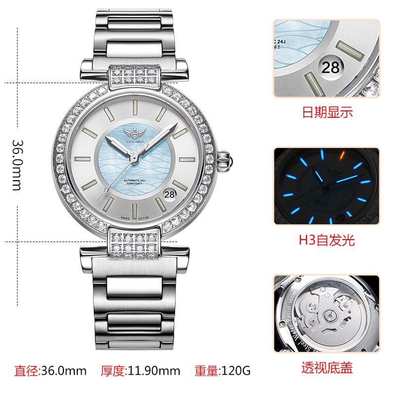 Yelang Women Automatic Watch Tritium Light T100 24Jewels Japan Top Movement Czech Rhinestone Date Diver Watch Waterproof100m enlarge