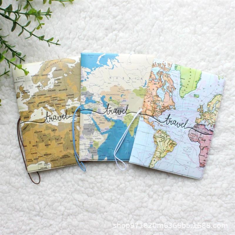 Обложка для паспорта, креативная сумочка из искусственной кожи с картой мира, для удостоверения личности и адреса, портативный портмоне, ак...