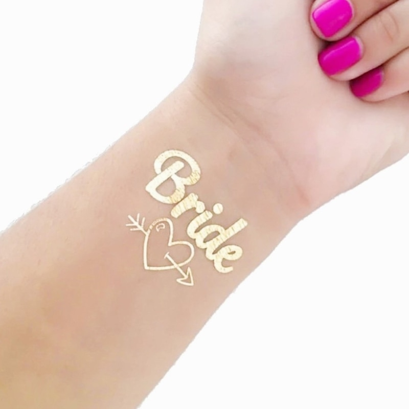 Equipo de novia despedida de soltera fiesta dama de honor Tribe equipo tatuaje temporal decoración pegatina despedida de soltera novia dorada para ser boda