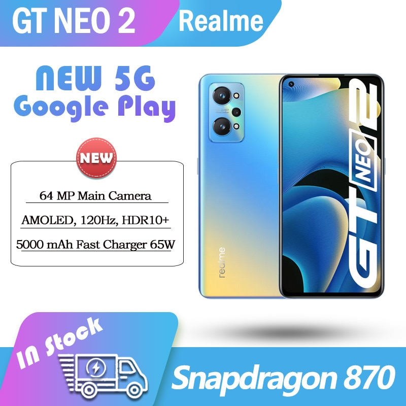 realme GT neo 2 5G smartphone Snapdragon 870 5000mAh 65W flash changer google play NFC AMOLED 120HZ 8GB RAM 256GB ROM Cellphone