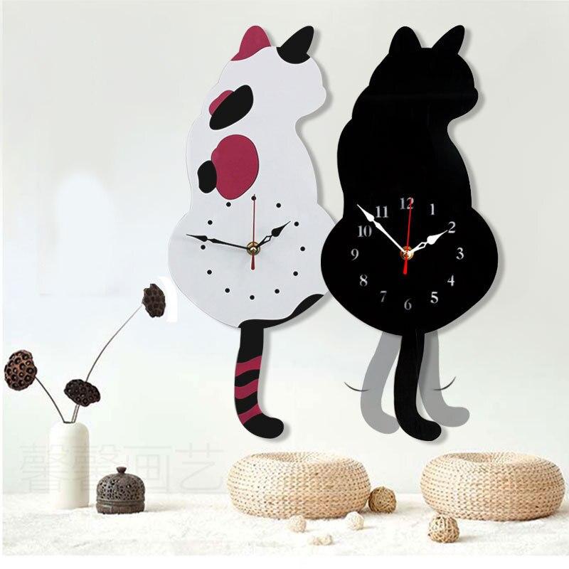 Reloj de pared creativo lindo Blanco/negro con cola de gato para el hogar decorativo gato horloge murale Reloj de pared diseño moderno