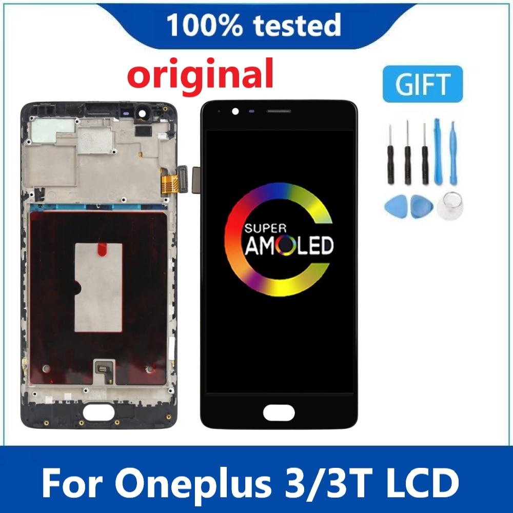 مجموعة شاشة OLED LCD تعمل باللمس مع إطار ، OLED أصلي لـ Oneplus Three ، لهاتف One Plus 3T A3000 A3010 A3003