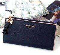womens purse 2021 new korean version long simple crisscross tassel zipper purse multi card button hand bag mobile phone bag
