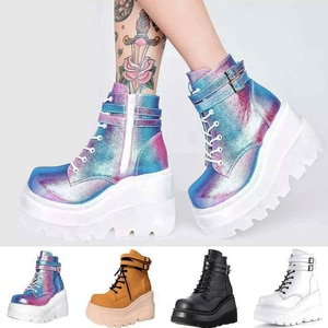 Boots for Women Rubber Platform Boots Luxury Leather Autumn Boots for Women Wedges Ankle Boots Zipper Gothic Shoes Women