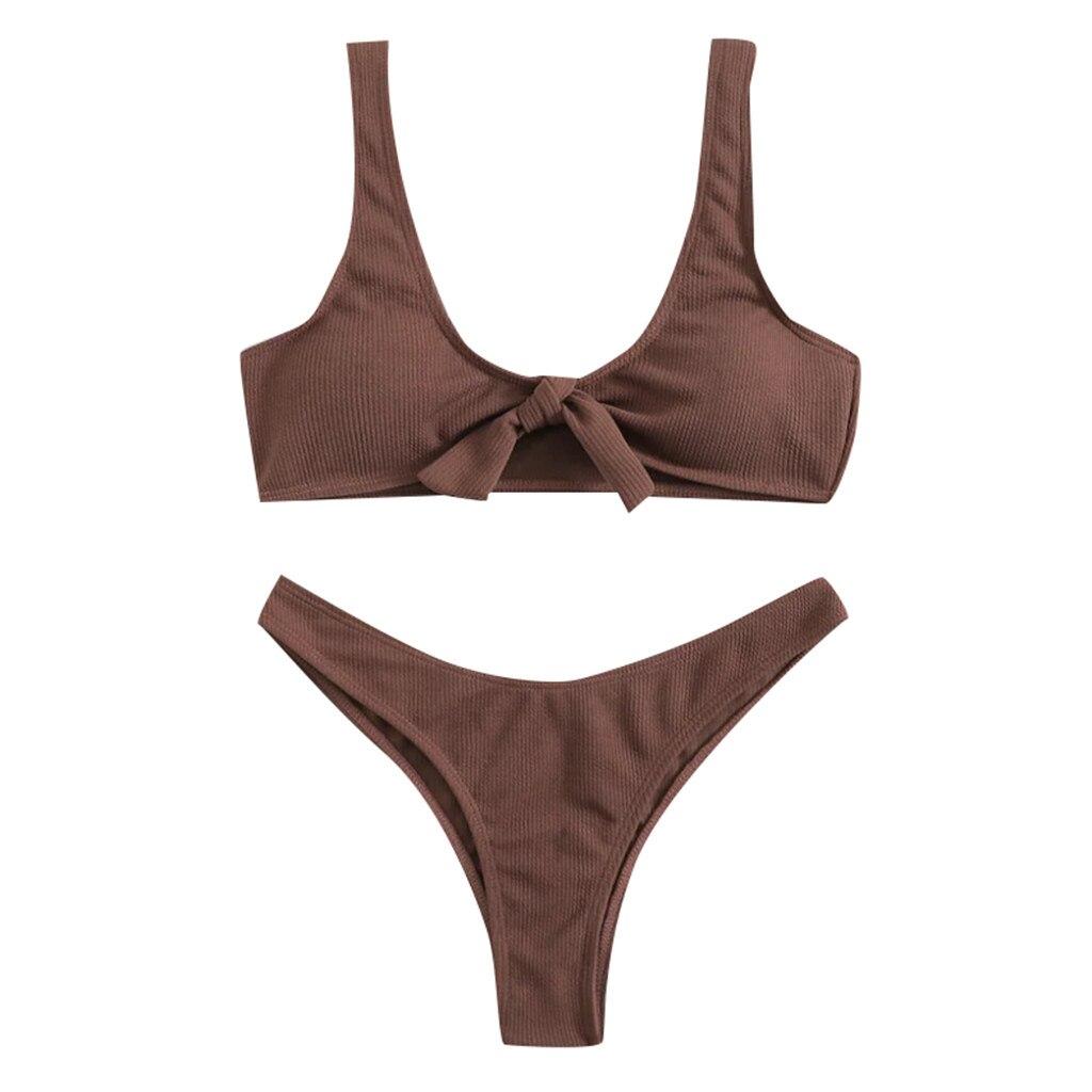 Zomer Dames Effen Kleur Bikini Bikini Sexy Vrouwelijke Split Badpak Bruin Vest Conservatieve Sexy Lage Taille Bikini Z1227