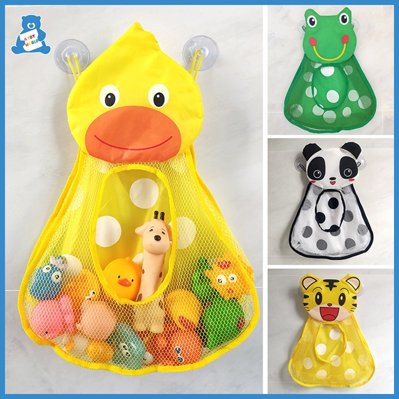 Baby Bath Toys Cute Duck Frog Mesh Net Toy Storage Bag Strong Suction Cups Bath Game Bag Bathroom Or
