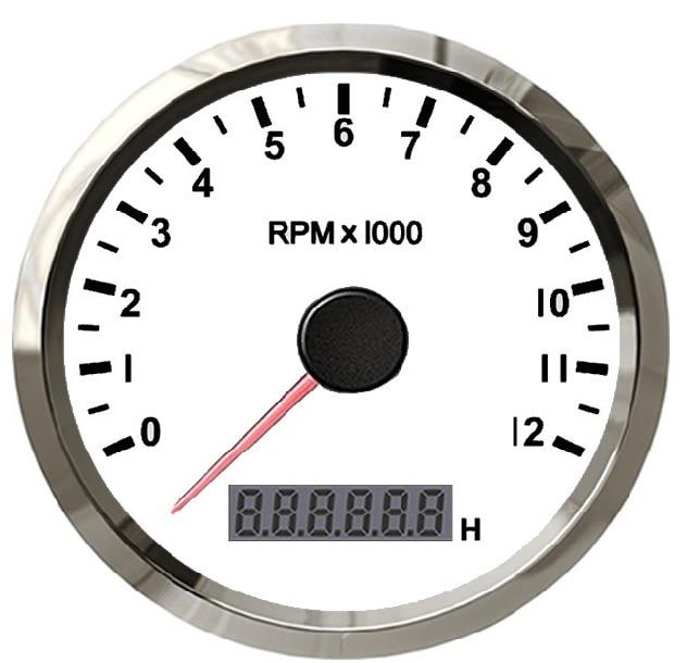 Tacómetro marino a prueba de agua de 85mm calibre RPM con reloj de arena LED ajustable 0-12000RPM 12V/24V con retroiluminación roja o amarilla