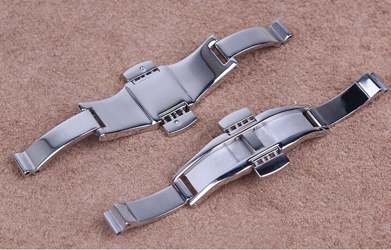 Купить с кэшбэком 6mm High Quality 316L Metal Watch Band Buckle 6mm Watchband Strap Silver Stainless Steel Clasp Butterfly Button Accessories