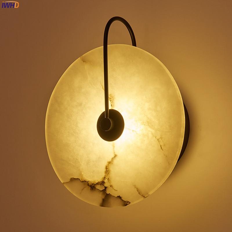 IWHD-مصباح حائط رخامي على الطراز الاسكندنافي ، مصباح LED حديث ومبتكر ، مصباح بجانب السرير ، غرفة نوم ، حمام ، مرآة