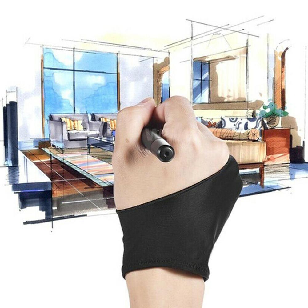 Guante negro con dos dedos Anti-incrustación dibujo pintura gráficos tableta para cualquier artista dibujo O2I5