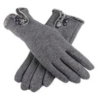 new female autumn winter non inverted velvet cashmere full finger warm lace gloves women cotton touch screen gloves
