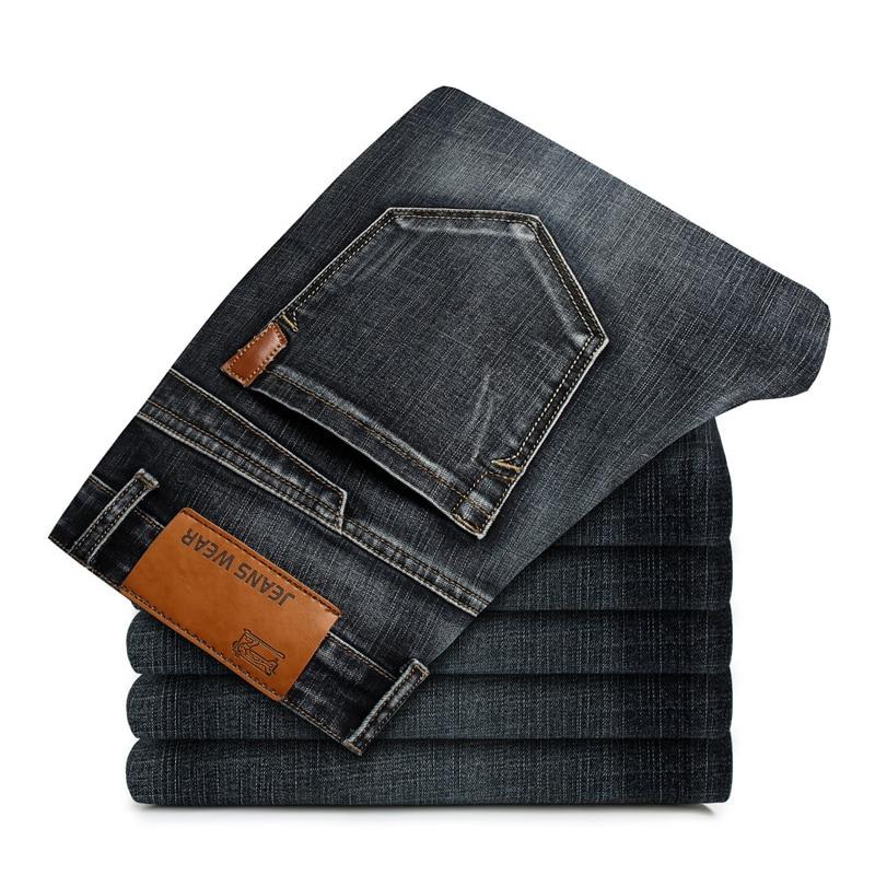 2020 Новые мужские джинсы модные повседневные осенние мужские свободные прямые джинсы эластичные размера плюс рваные джинсы для мужчин брен...
