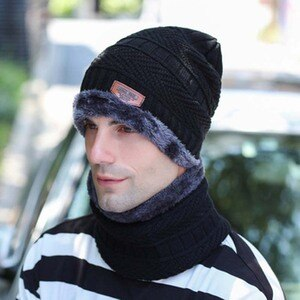 Autumn and winter hats men's cotton hats knitted hats wool  plus velvet scarf two-piece winter men's earmuffs riding caps S82