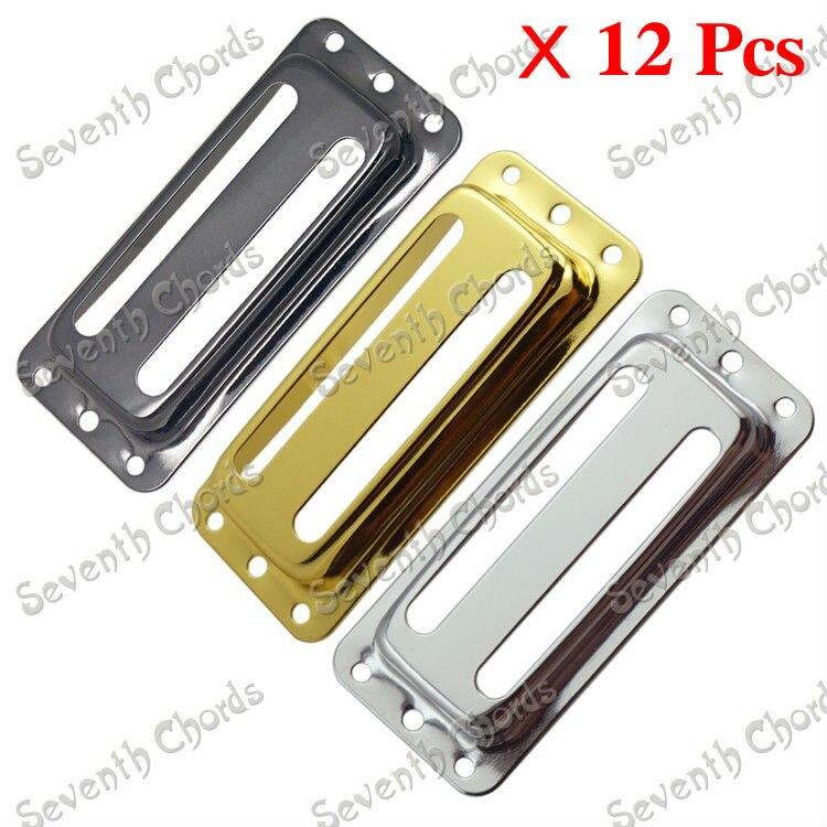 12 Uds 3 colores pastilla de latón Humbucker cubre/tapa/carcasa/tapa para guitarra eléctrica-agujero de dos líneas-cromo-Negro-oro