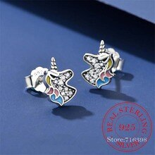 925 Sterling Silver Dazzling Unicorn Licorne Stud Earrings For Women Kids Wedding Gift Female Pendie