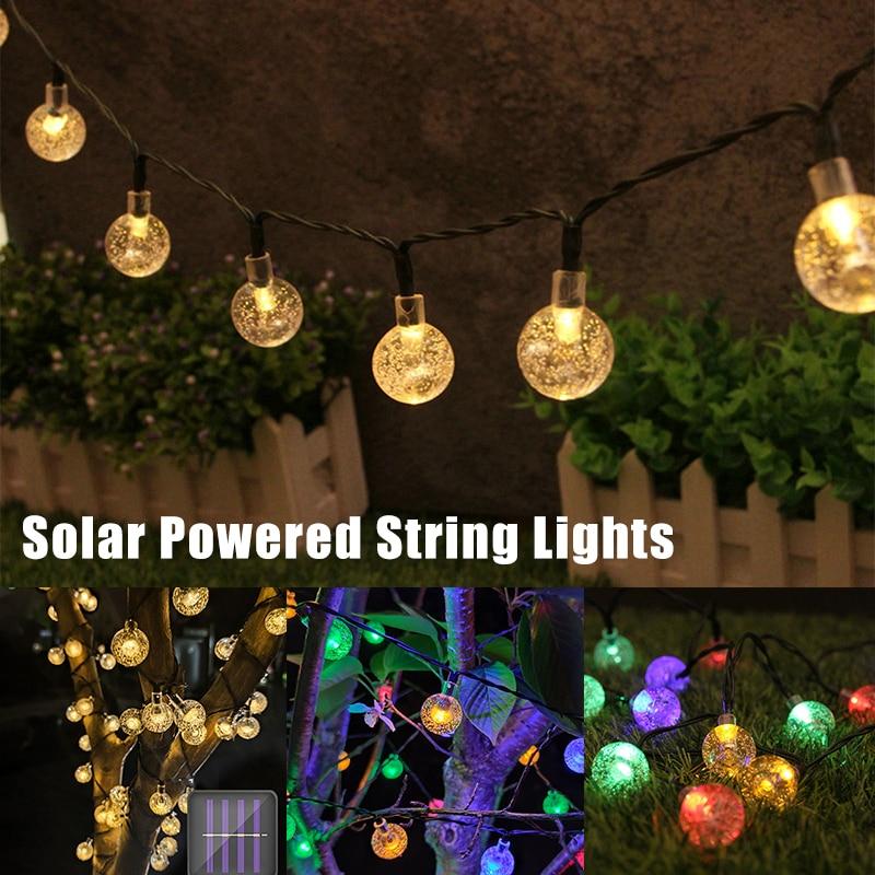 Светодиодная уличная Водонепроницаемая гирлянда на солнечной батарее, садовый светильник для двора, xqmg светильник уличсветильник освещен...