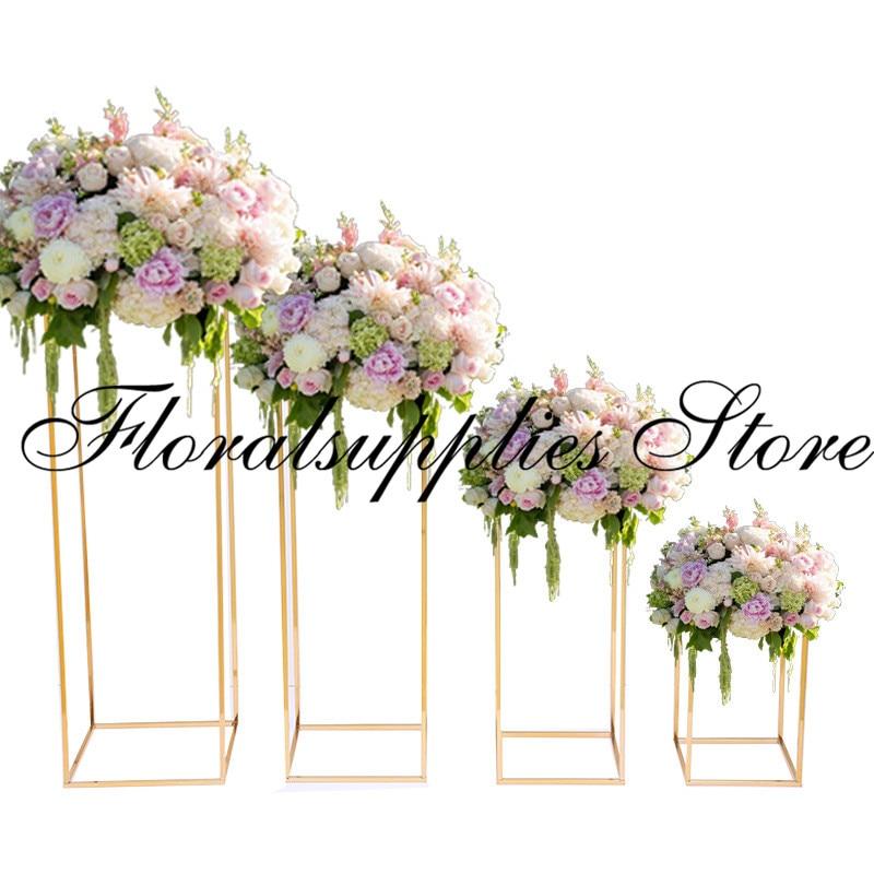 10pcs wedding decoration backdrop stand marriage stage aisle decorative flower vase gold display rack