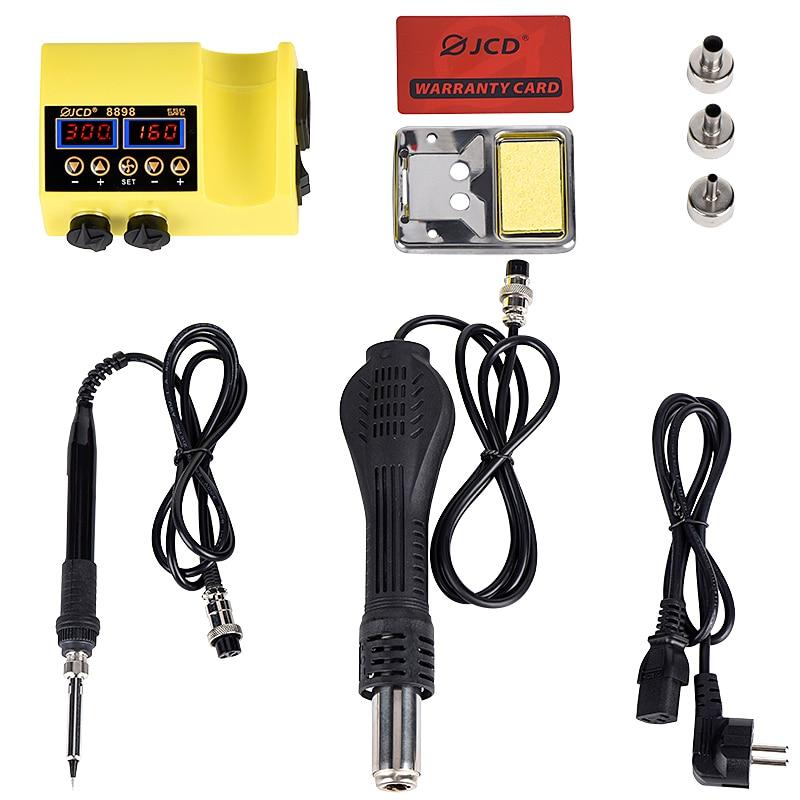 JCD 8898 Heat Gun LCD Digital Display Soldering Iron Kit Welding Rework Station Hot Air Gun for Cellphone BGA SMD PCB Repairing