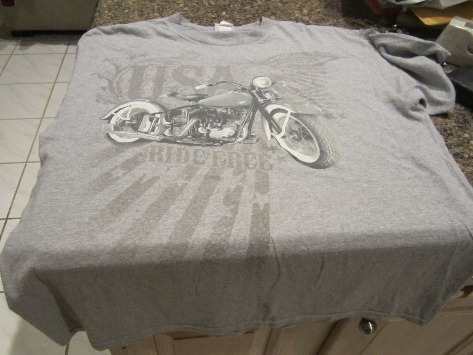 Motorcycle T Shirt Gray Xl Ride Free National Heritage Brand