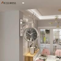 meisd rotating wall clock resin 3d double side watch hanging bird design home interior corridor decorative horloge free shipping