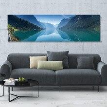 Pósteres e impresiones lienzo de lago azul pintura cuadros de pared para sala de estar paisaje de cascada Póster