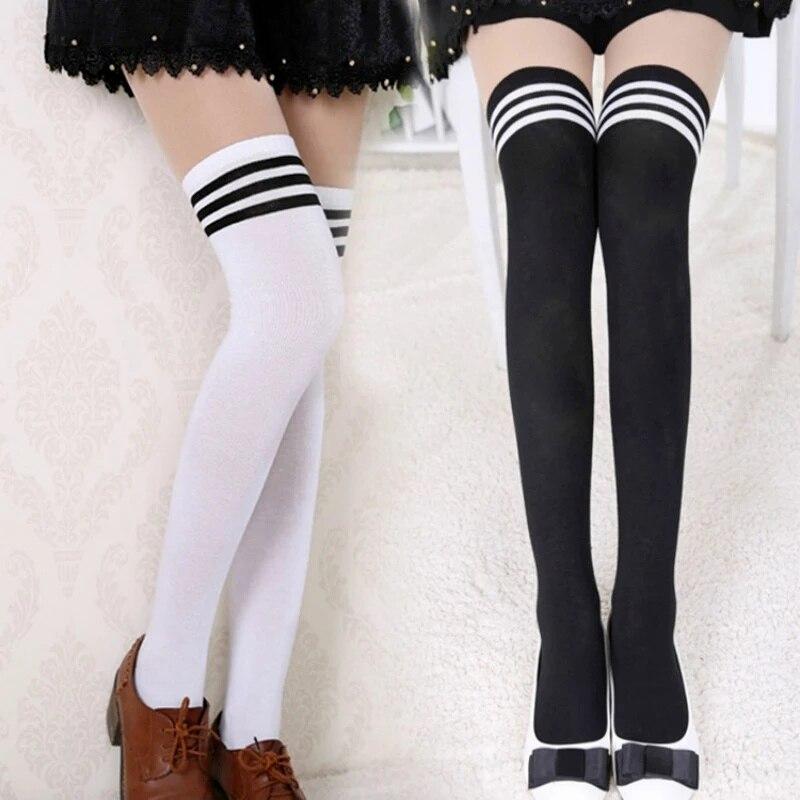 Calcetines largos de rayas negras y blancas para mujer, Medias sexys por encima de la rodilla hasta el muslo, por encima de la rodilla, 2 uds.