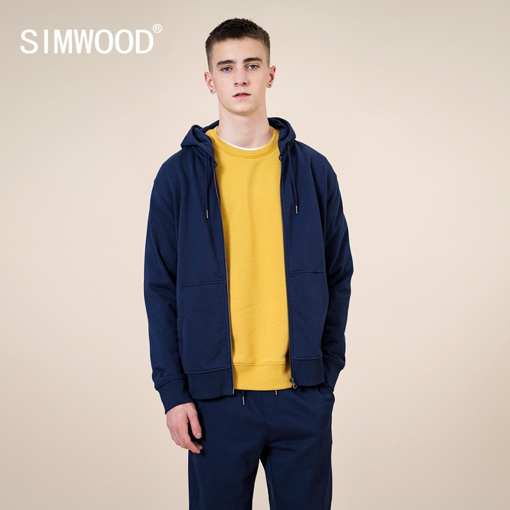 SIMWOOD 2021 spring Winter New Cotton-Jersey Zip-Up Hoodie Men basic hooded Sweatshirts Comfortable