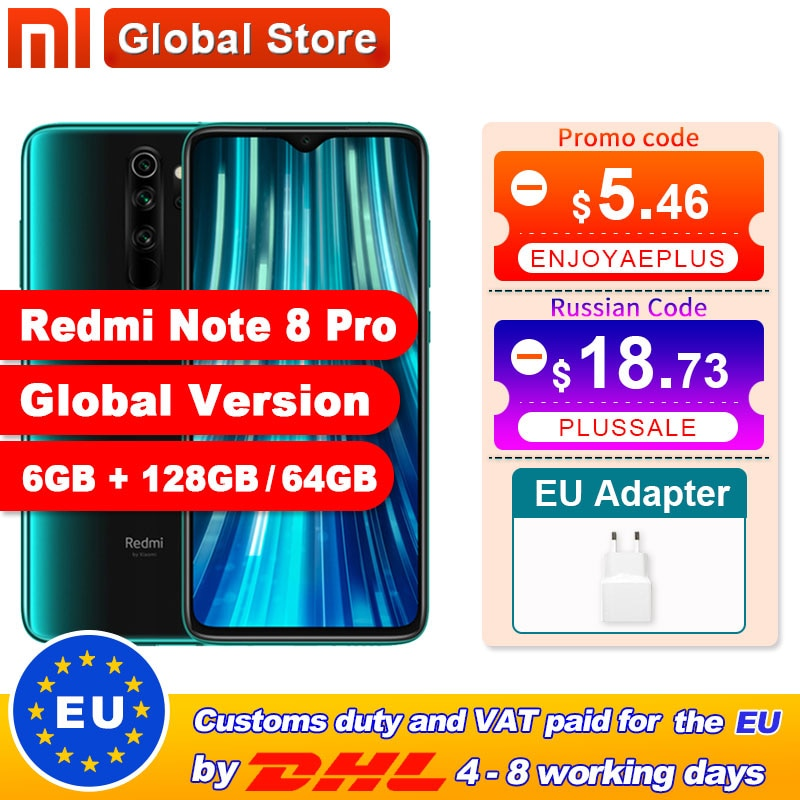 Versión Global Xiaomi Redmi Note 8 Pro 6GB 128GB / 64GB Smartphone 64MP Quad Cámara Helio G90T Octa Core 4500mAh NFC