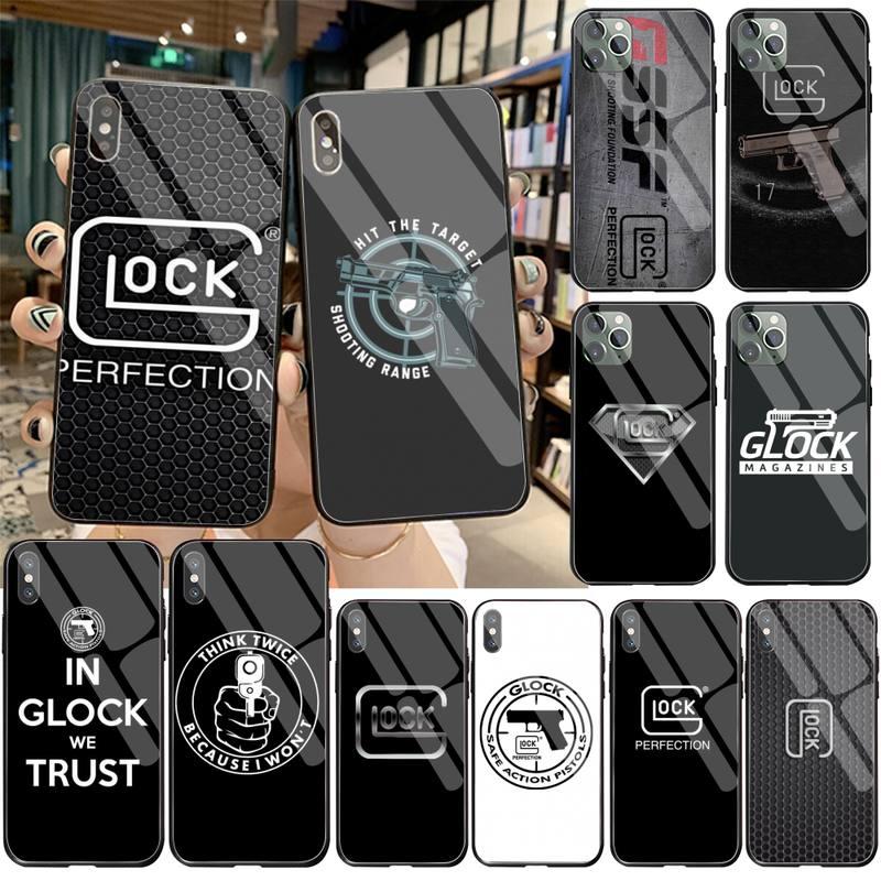 CUTEWANAN Glock Handgun lujo diseño único teléfono cubierta de vidrio templado para iPhone 11 Pro XR XS MAX 8X7 6S 6 Plus SE 2020 funda