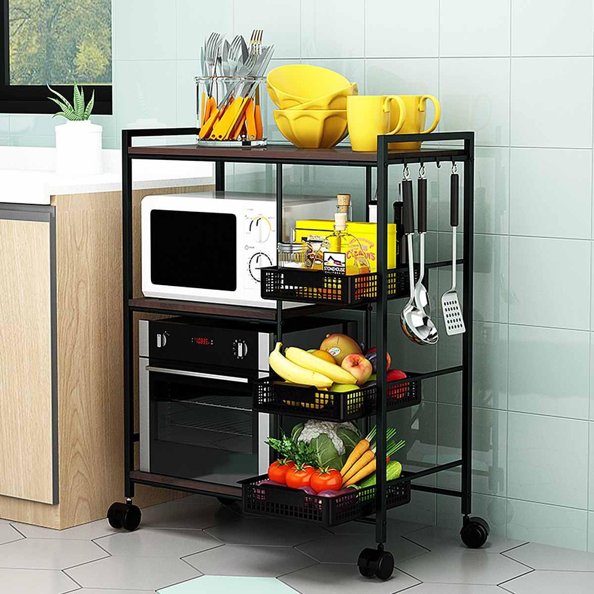 متعددة الطبقات عربة المطبخ الخبازين رف مع عجلات الفواكه الخضار سلال المنقولة المايكرويف حامل التخزين المنظم