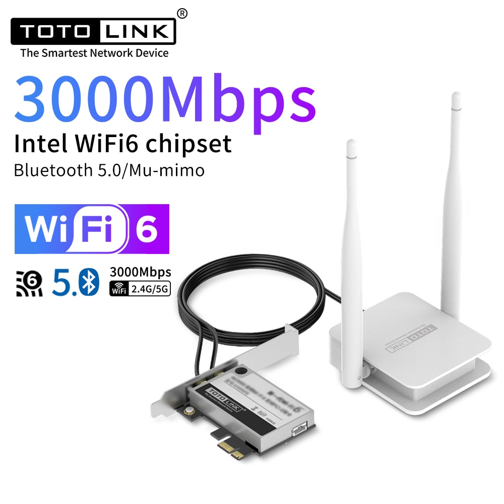 TOTOLINK X3000PE واي فاي 6 إنتل AX210 ثنائي النطاق PCI اللاسلكية واي فاي محول الشبكة 3000 متر واي فاي بطاقة بلوتوث 5.0 PCI اكسبرس Wlan