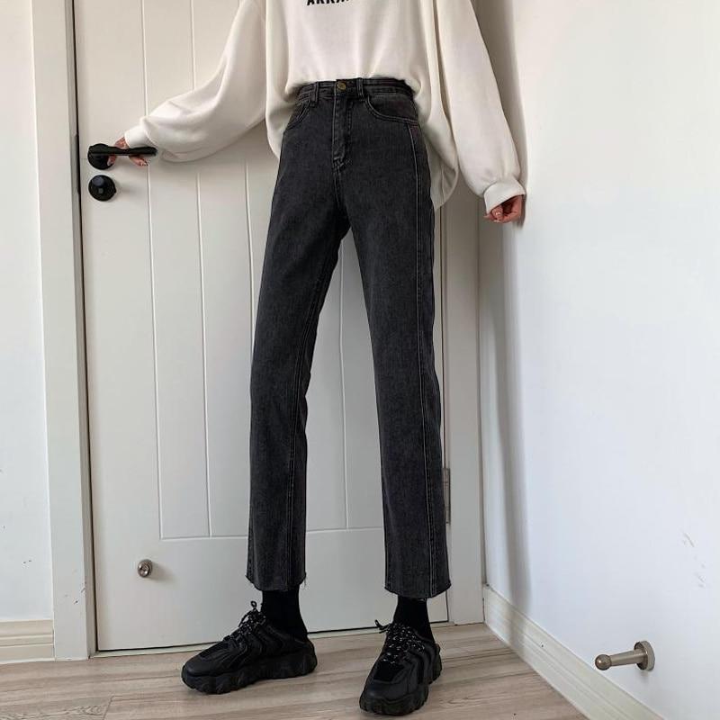 Autumn 2021 new Korean high waist SLIM STRAIGHT pants loose small Wide Leg Denim Capri women's wear