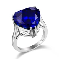 szjinao genuine blue sapphire ring for women 925 sterling silver heart rings wedding engagement exclusive ladies jewelry anillos