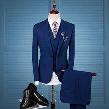 Talla asiática 2019 otoño vestido de boda fiesta de graduación trajes de hombre Oficina azul oscuro negocios formal Casual hombres Slim Fit traje (blazer + chaleco + Pantalones) 3 piezas conjunto