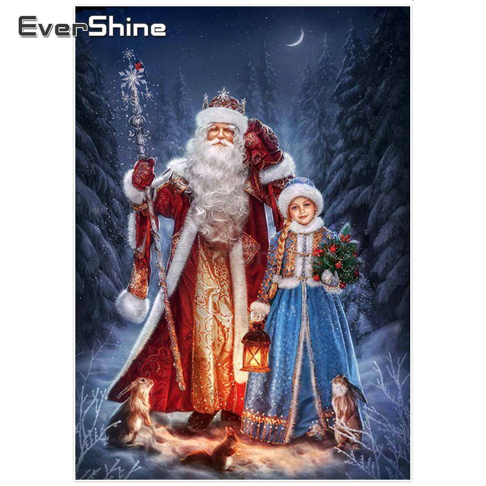Evershine 5d pintura diamante ponto cruz papai noel imagens de strass diamante bordado decorações de natal para casa