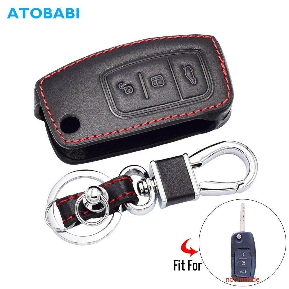 Кожаный чехол для автомобильного ключа для Ford Fiesta Focus 2 Mondeo Ecosport Kuga Escape, 3 кнопки, складной пульт дистанционного управления, брелок, держатель, сумка