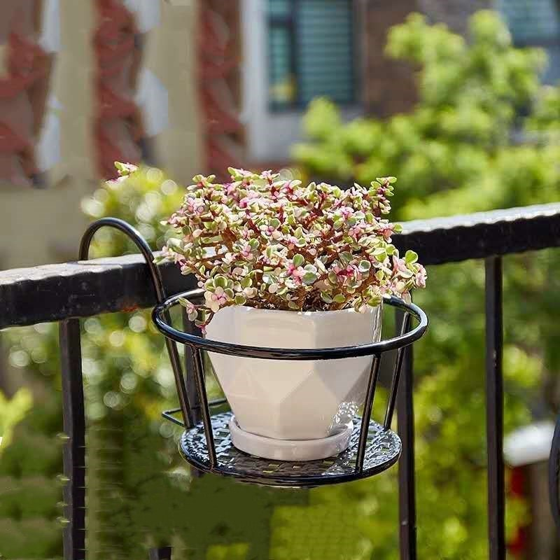 Balcony Hanging Flower Rack European Style Guardrail Window Sill Railings Iron Planter Pot Stand Home Decoration Accessories