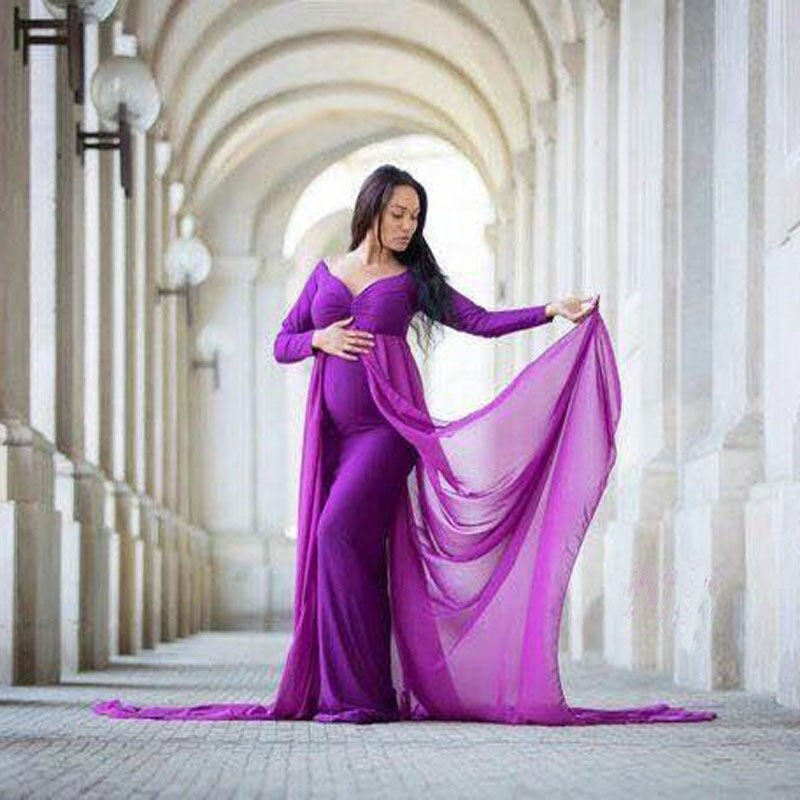 Shoulderless Long Sleeve Pregnancy Dress Photography Props Maternity Maxi Gown Dresses For Photo Shoot Pregnant Women Clothes enlarge