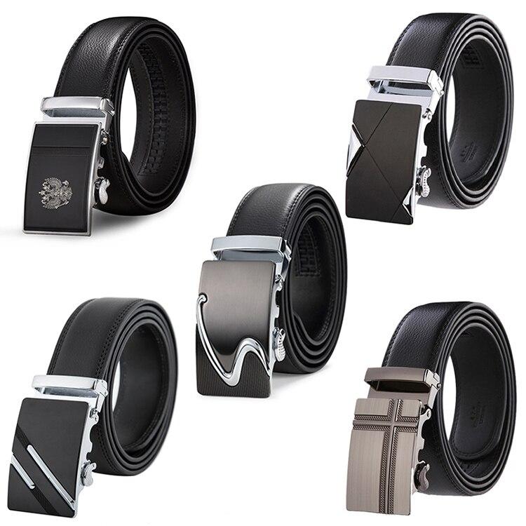 Genuine Leather Belts For Men Automatic Male Belts Cummerbunds Leather Belt Men dropshipping Black B